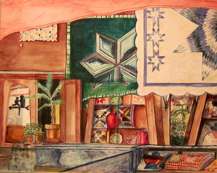 Quilt Shop Log Cabin Star Ken Wohlgemuth Illustration Art Art Quilt Shop