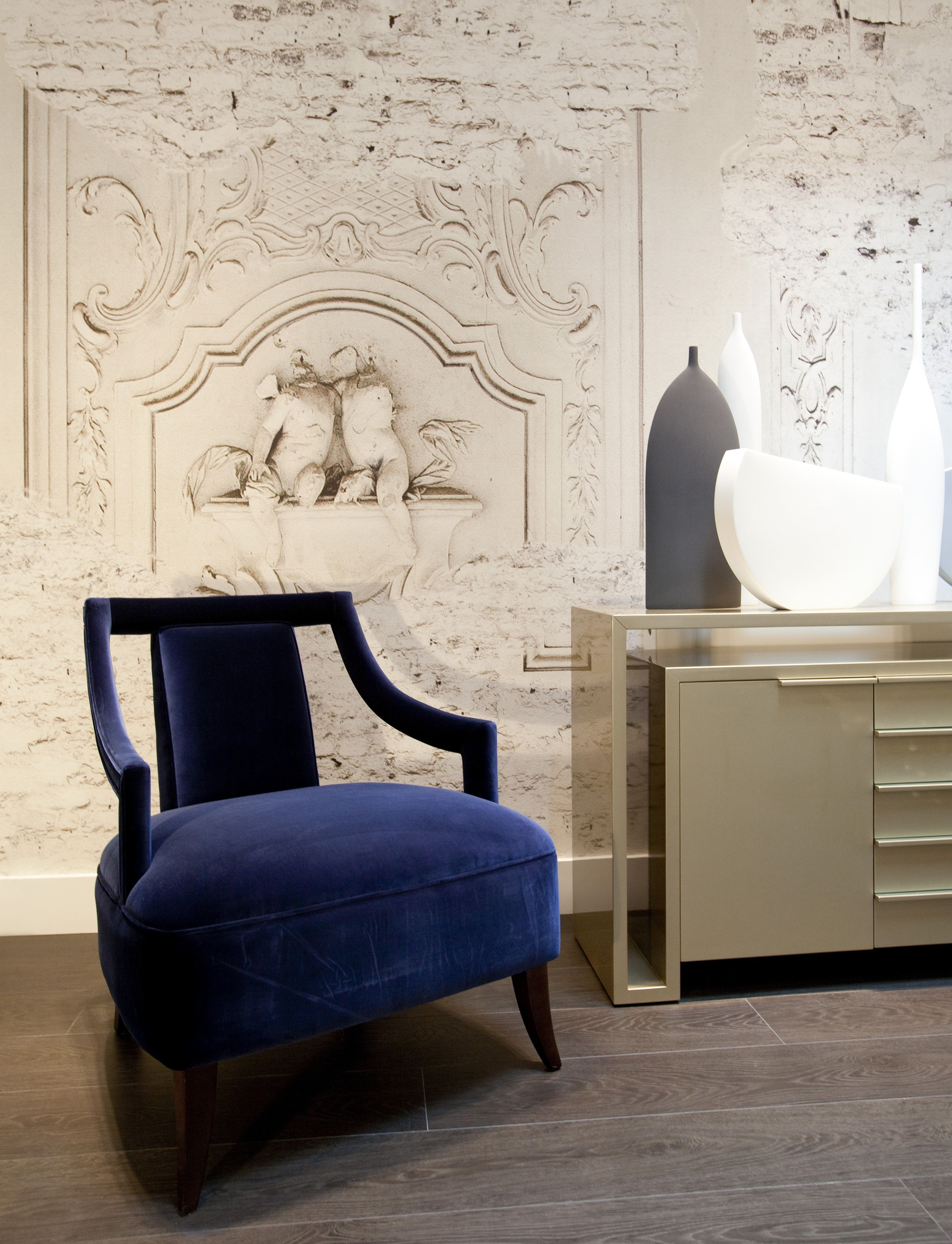 Beautiful blue velvet chair against stunning trompe d oiel Wall&Deco