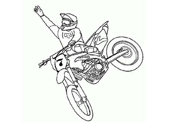 dirt bike    dirt bike rider jump high coloring page