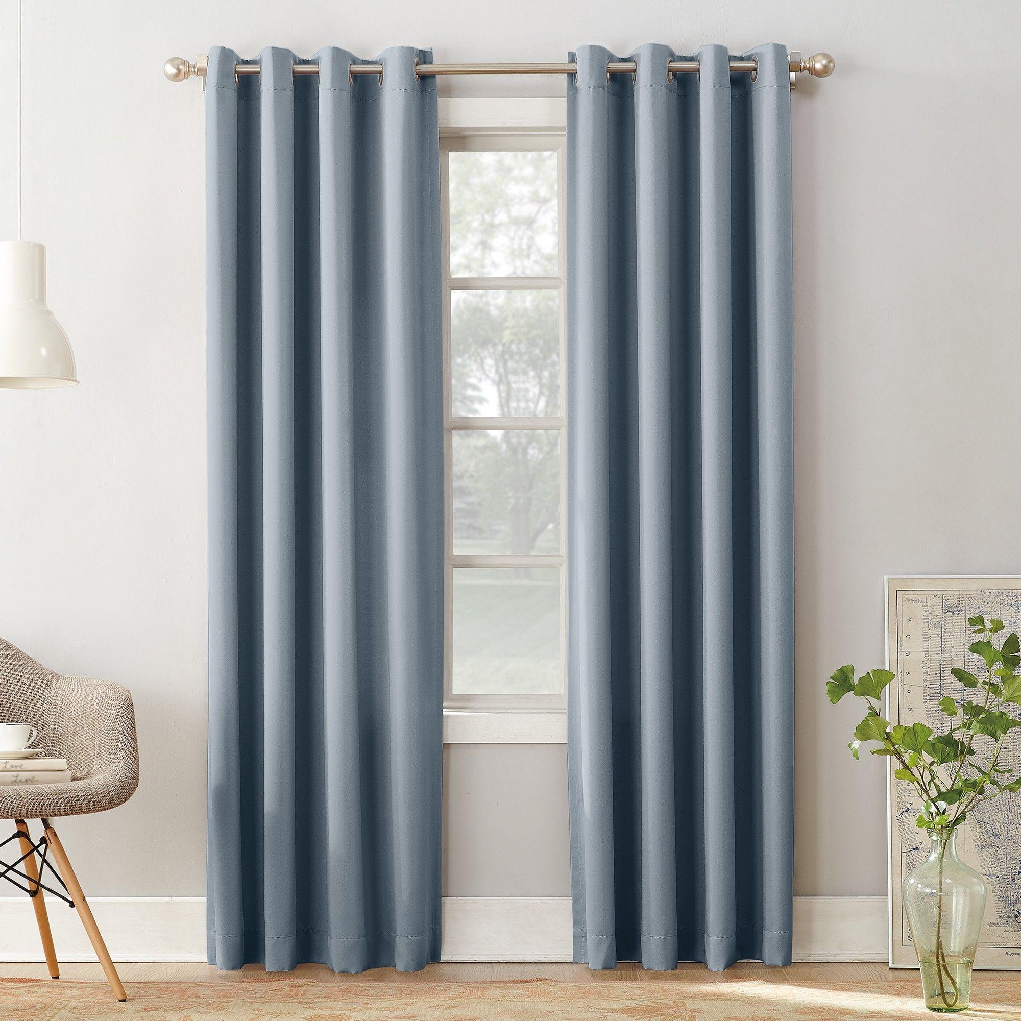 "Seymour Room Darkening Grommet Curtain Panel Vintage Blue 54""x63"