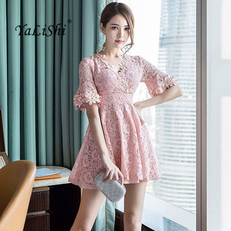 aeac4884f Cheap YaLiShi verano rosa De encaje vestido mujer 2017 manga corta v cuello  vendaje Vintage A