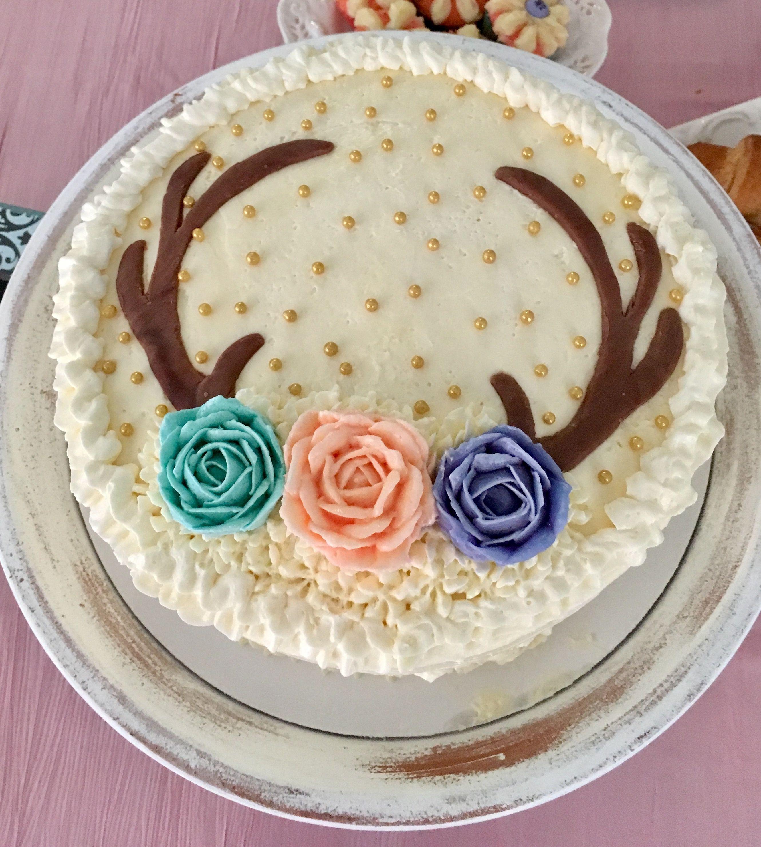 Vintage Boho Baby Shower Deer Antler And Roses Cake