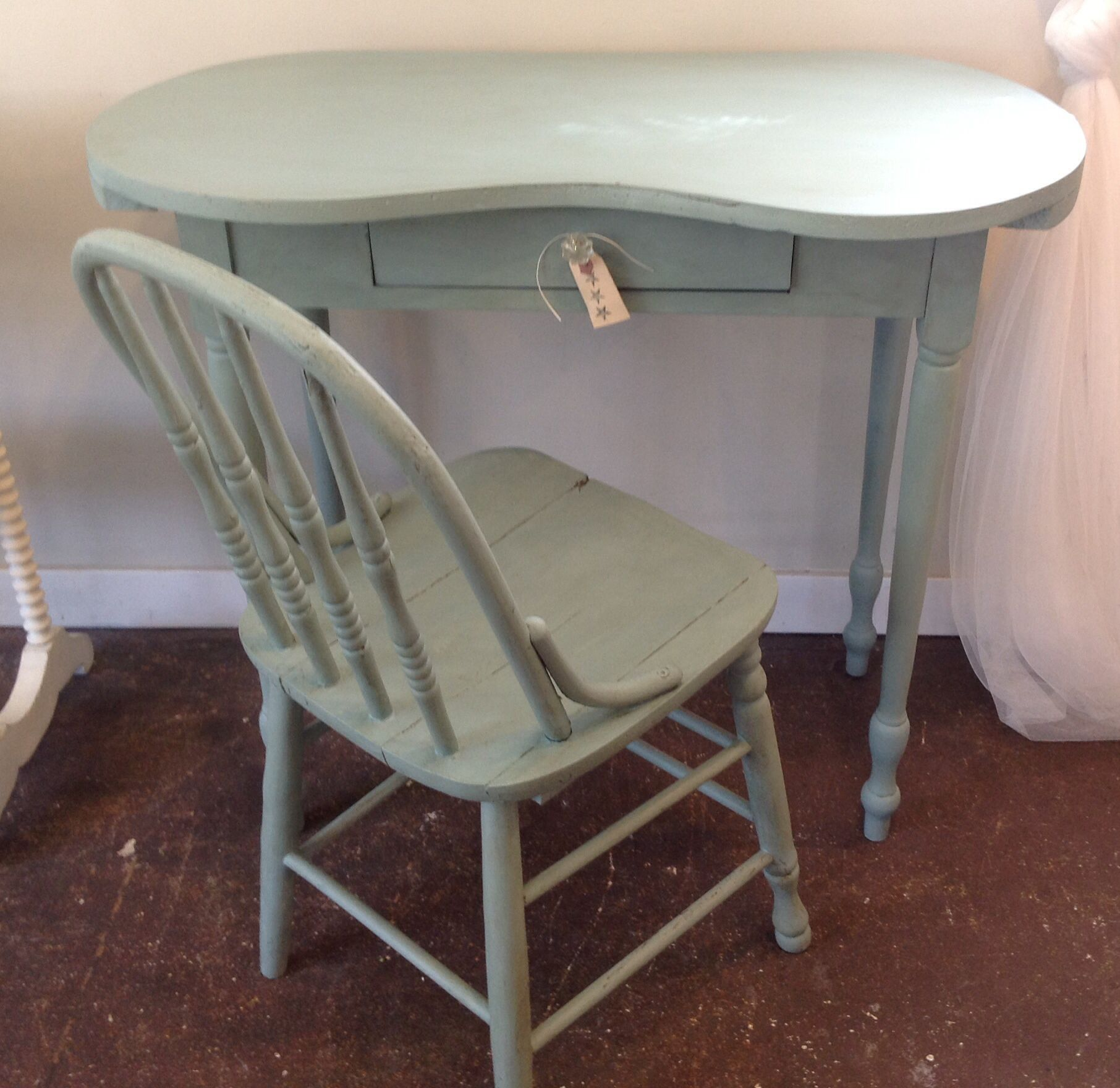 Vintage Kidney-shape Vanity And Chair In ASCP Duck Egg | Cottage