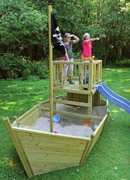 Spiellandschaft Pirat Schiff Mit Spielturm Und Mast Kinder Garten Garten Spielplatz Kinder Spielgerate