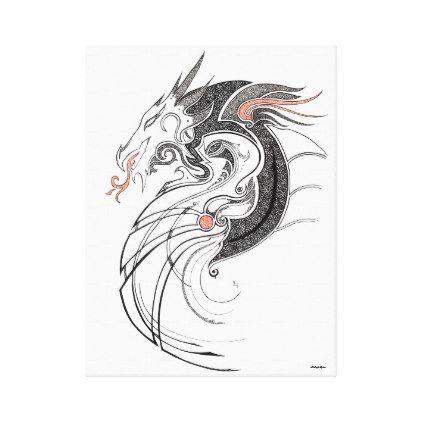 dragon canvas print white gifts elegant diy gift ideas