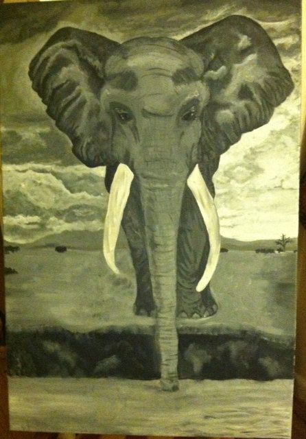 Black and White Elephant in Acrylic by SymfoniAja on Etsy