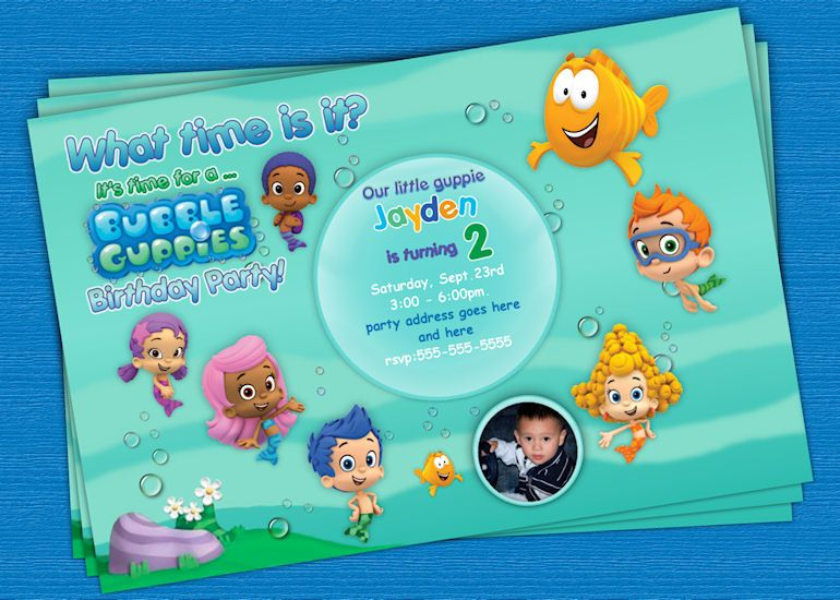 bubble guppies custom birthday invitation - printable #2 | my, Birthday invitations
