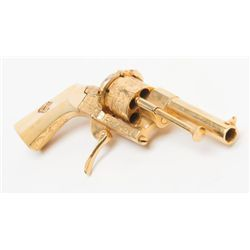 Beautiful engraved gold plated pinfire revolver, 7 65mm cal