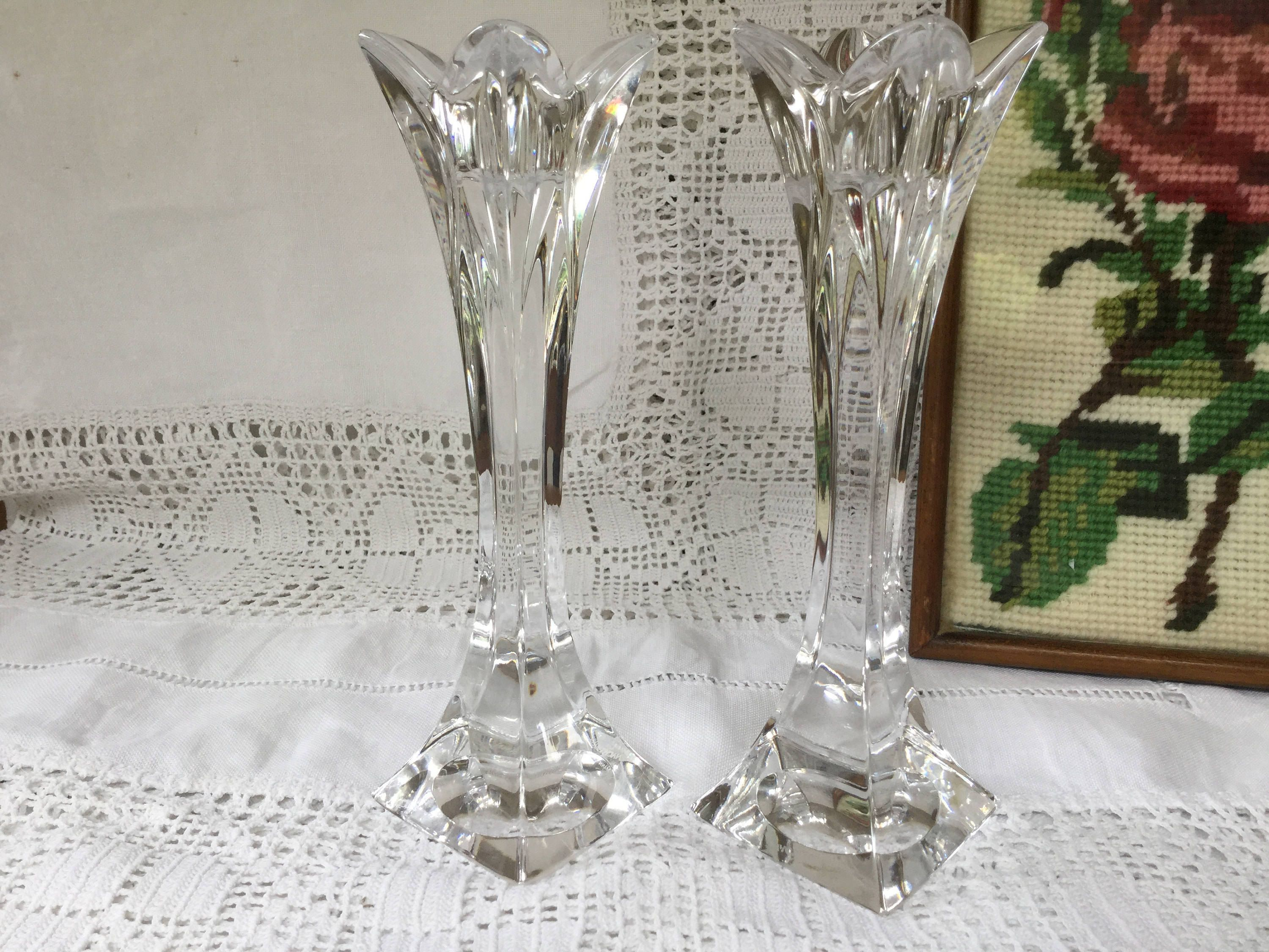 Pair Bavarian Crystal Glass Candle Holders Christmas Dining Table
