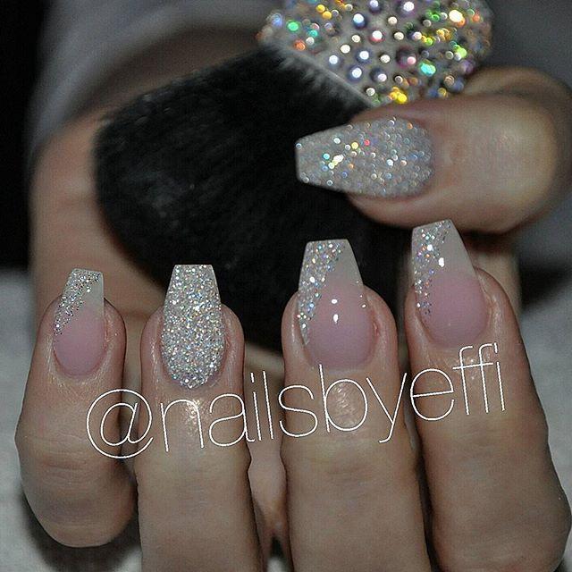 Soft Pink With Diamond Glitter Nailsbyeffi Gel Nails Glitter Pink Diamond Rose Gold Nails Acrylic Gold Acrylic Nails Wedding Nails Glitter