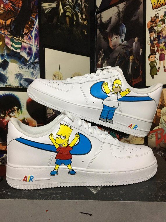 5390ab048a732c Custom Nike Air Force Simpsons , homer and bart ,custom sneakers , custom  shoes ,