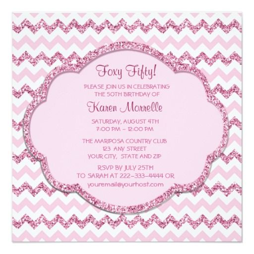 pink sparkle chevron womans 50th birthday party invitation chevron