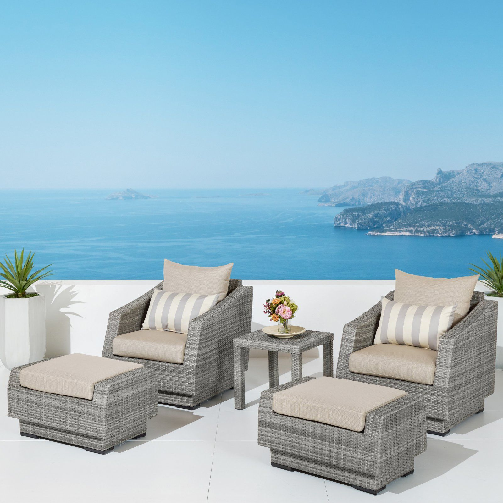 Outdoor Rst Brands Cannes Slate 5 Piece Club Chair And Ottoman