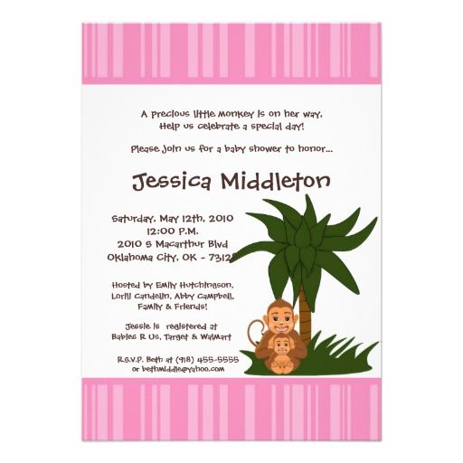 5x7 Girly Pink Mama Monkey Baby Shower Invitation