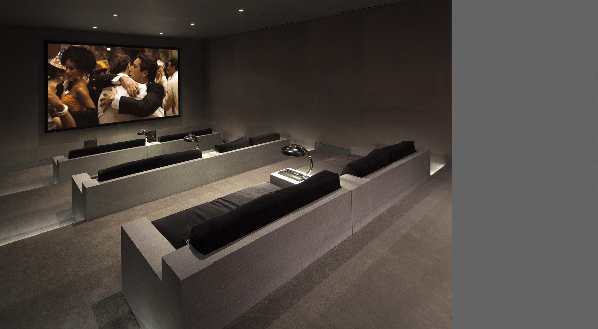 pleasant double tier room style home theater los angeles ca