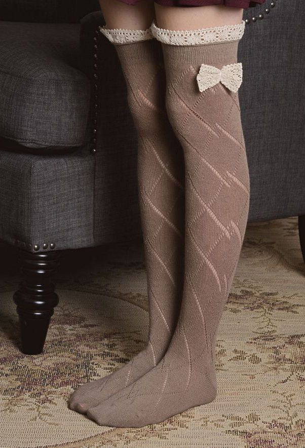 Mocha Pointelle Thigh High Socks A Little Shorter And