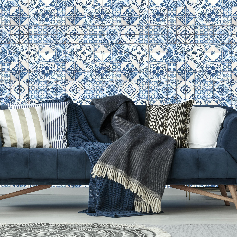 Roommates Mediterranian Tile Peel Stick Wallpaper Walmartcom
