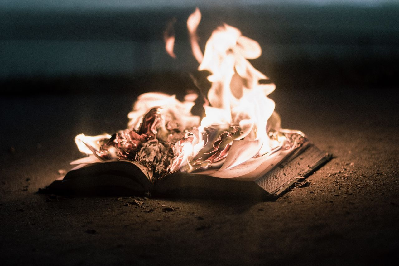 Book No People Close Up Indoors Night Fire Burning Burning Book Fire Photography Book Burning Book Photography