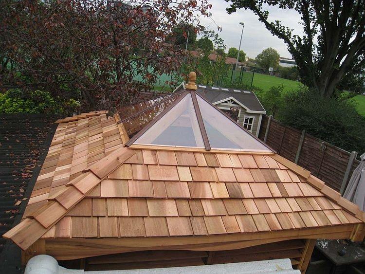 Standard clear atrium roof on cedar hot tub gazebo hot for Hot tub shelter plans