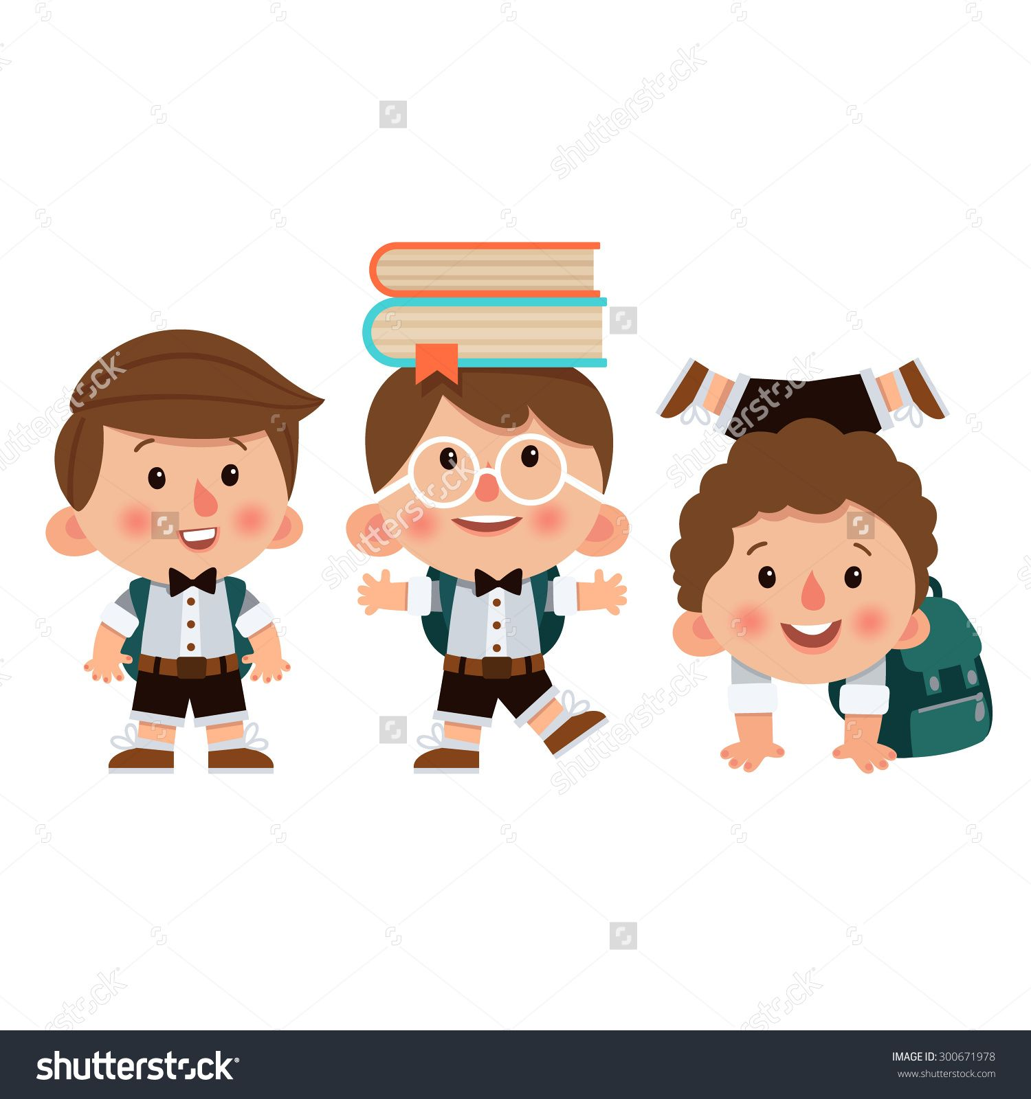 stock vector set of cartoon characters boys with different