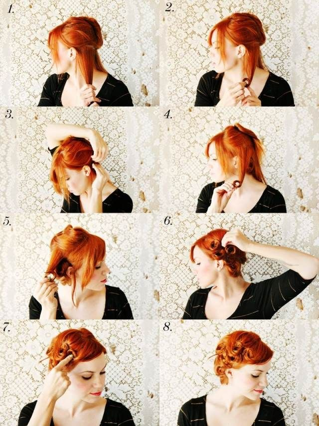 rockabilly retro frisur anleitung retro pin up curls make up frisuren nails pinterest. Black Bedroom Furniture Sets. Home Design Ideas