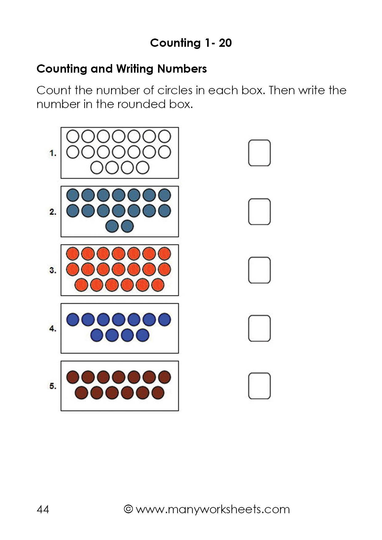 Writing Number Worksheets 1 20 Counting Dots To 20 And