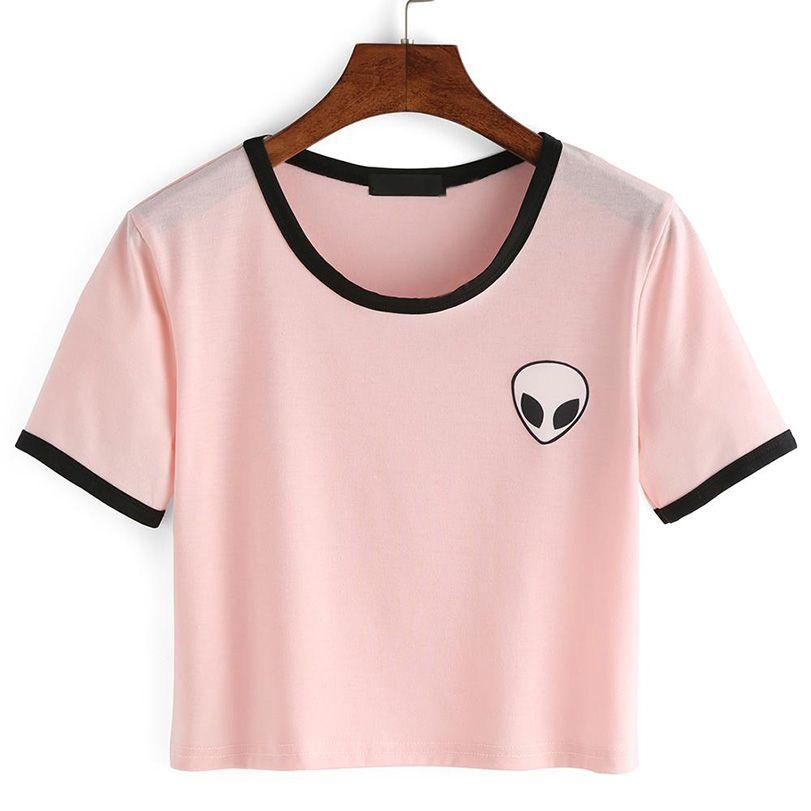 2a9984db732 14 Style 2016 Fashion Summer kawaii Design Print Aliens T Shirts Women Short …