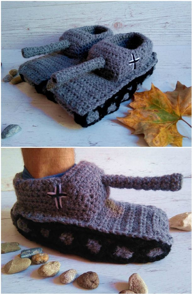 Tank Crochet Slippers Pattern Ideas   Crochet slipper ...
