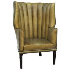 Excellent Wingback Or Barrel Back English Leather Chair Leather