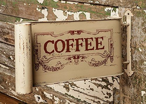 Shabby Chic Kitchen Signs : New large primitive vintage chic cafe coffee shabby tin double sided