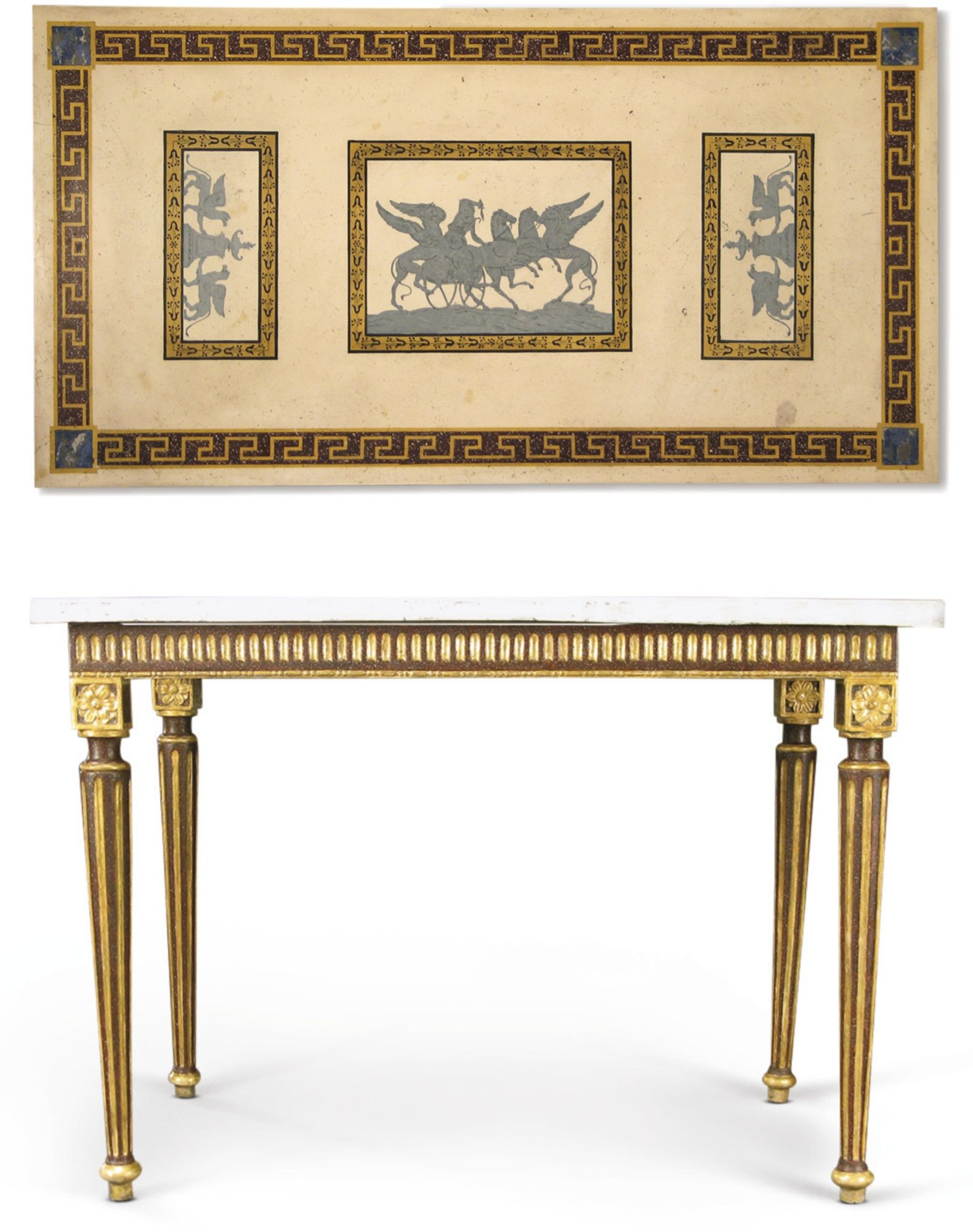 A GUSTAV IV SWEDISH NEOCLASSICAL FAUX PORPHYRY PAINTED PARCEL