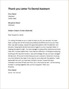 Thank You Letter To Dental Assistant Download At Http