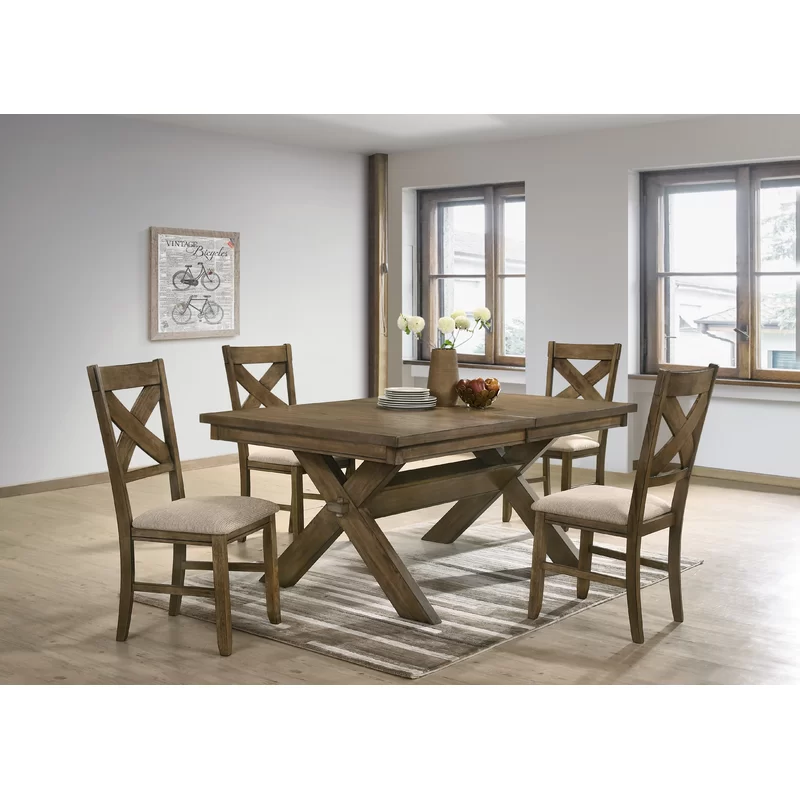 Poe Cross Buck Extendable Dining Table In 2020 Solid Wood Dining
