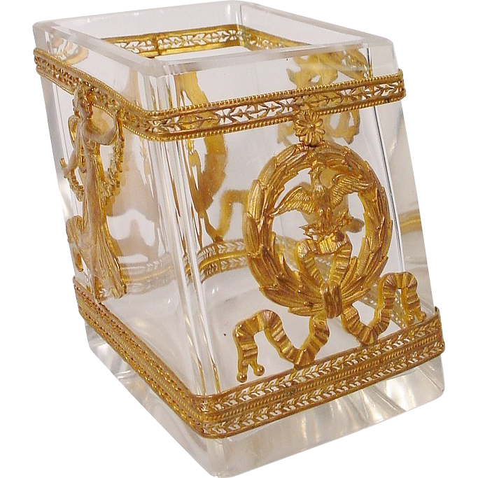 Antique French Empire Style Crystal Dore Bronze Desk Tidy 475