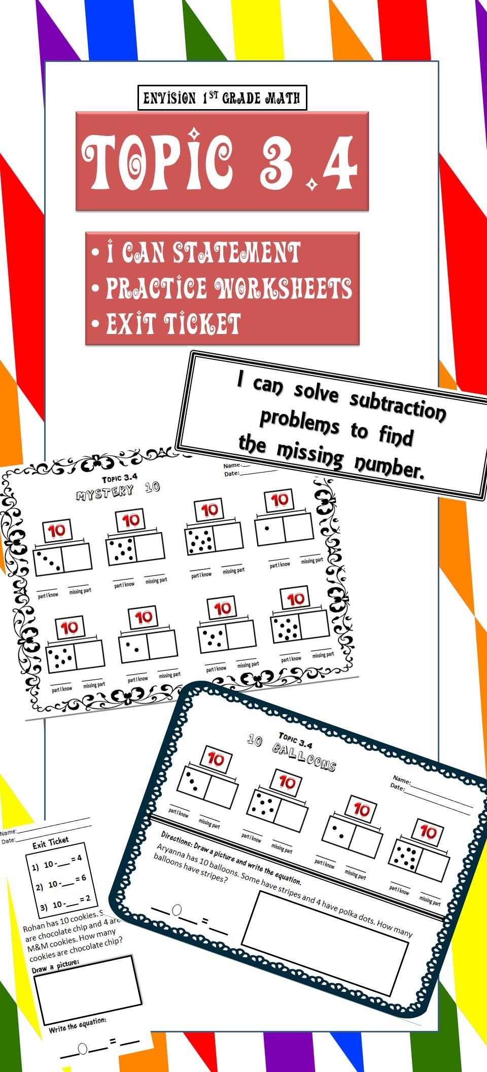 1st Grade Envision Math Topic 3 4 Finding Missing Parts Of 10 Get This From Tpt Envision Math Math Worksheets Text Structure Worksheets [ 2112 x 960 Pixel ]