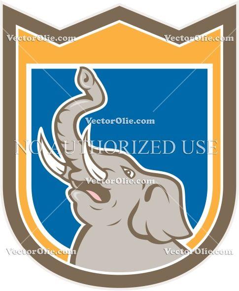 african elephant, animal, artwork, bull, cartoon, crest, elephant, graphics, head, illustration, isolated, pachyderm, shield, trunk, trunk u...