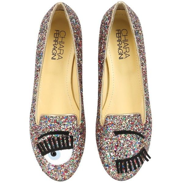 CHIARA FERRAGNI 10mm Blink Eyes Glitter Loafers - Multi ($211) ❤ liked on Polyvore featuring shoes, loafers, flats, chaussures, multi, metallic shoes, flat pumps, glitter shoes, leather loafers and stretch shoes