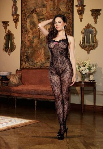 11d6956ff1 Dreamgirl Woman s Plus Size Stretch Lace Crotchless Bodystocking with Back  Seam to Thigh and Contrast Bow Details