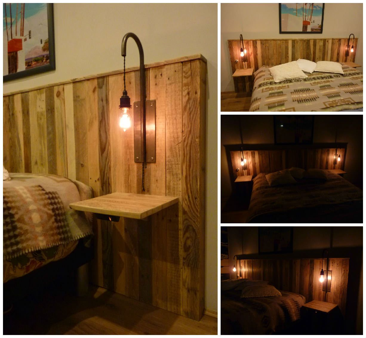 Pallet bed headboard with lights tête de lit en palettes et