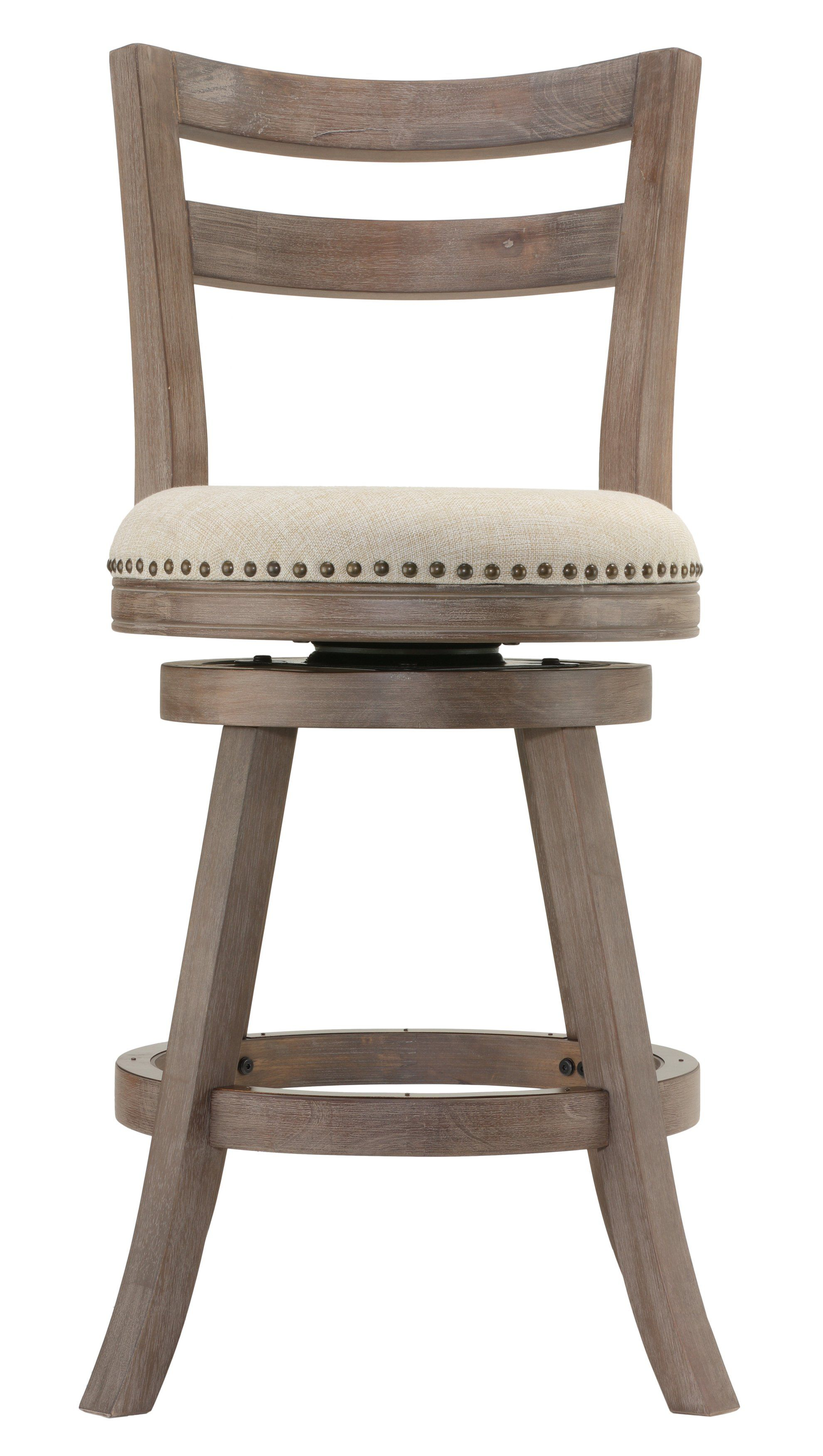 Cortesi Home Harper Counter Stool Swivel Bar With Back In Solid Oak Wood Beige Fabric
