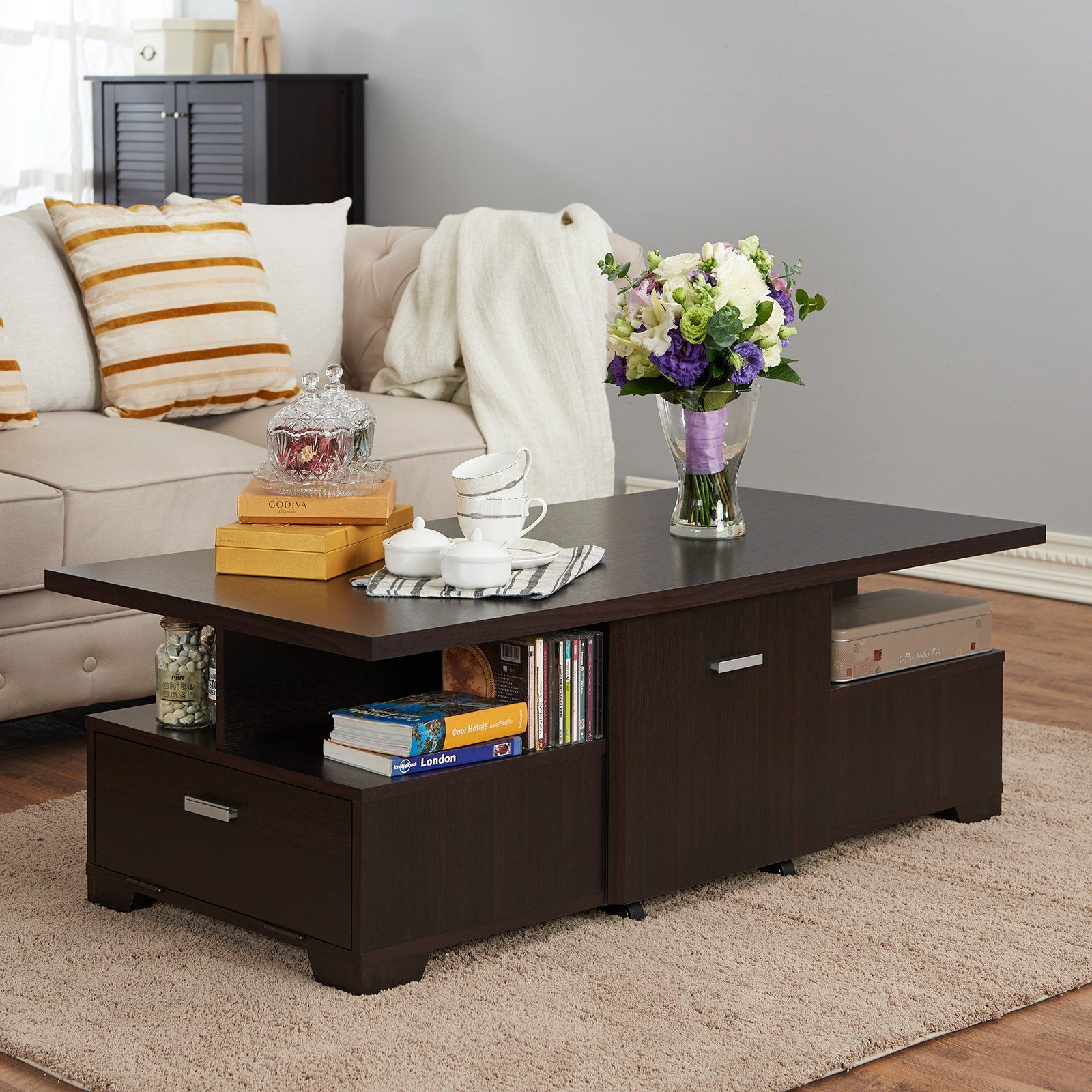 Furniture of America Portena Removable Center Storage Coffee Table