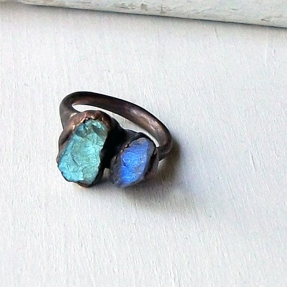 Labradorite Copper Ring Gem Stone Natural Raw Patina Handmade For Her Artisan