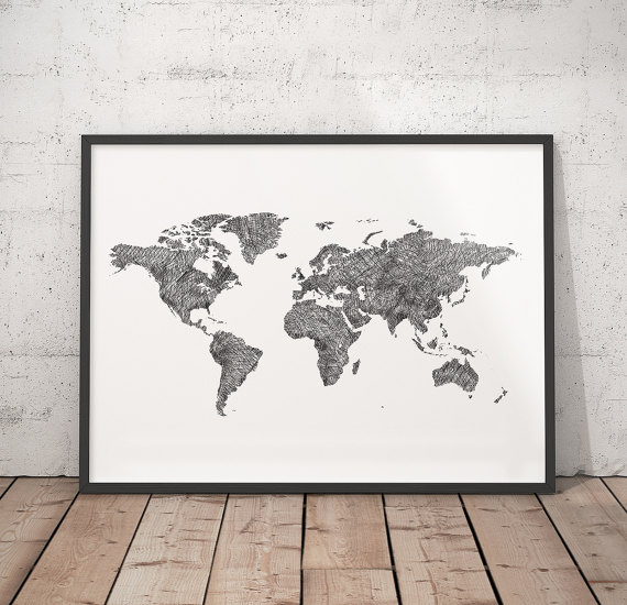 World map Black & White map Hand drawn map Modern map