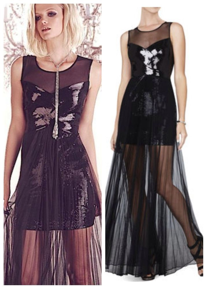 NEW BCBG CYNTHIA black combo sequined dress $548 AHW69C04 L $548 #BCBGMAXAZRIA #Corset #Formal