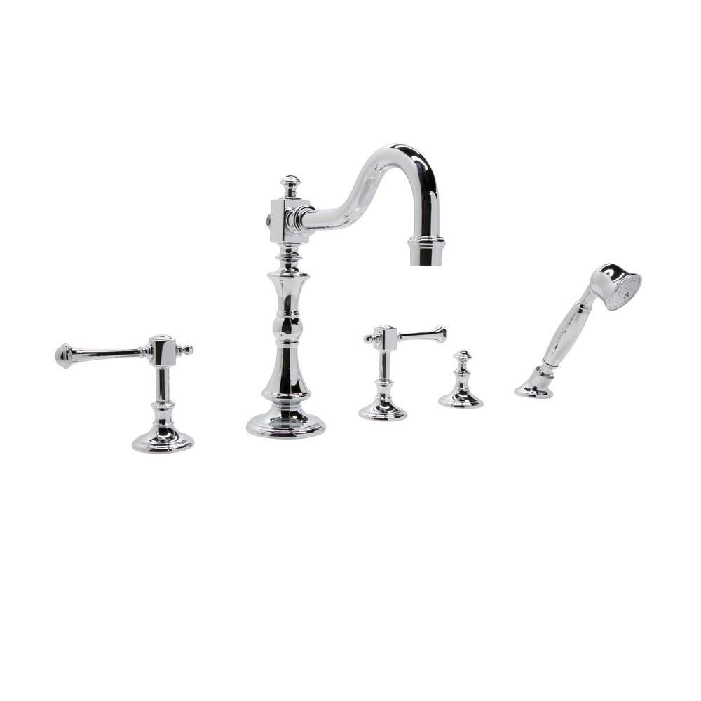 ANZZI Kitt Series 3-Handle Deck-Mount Roman Tub Faucet with Handheld ...