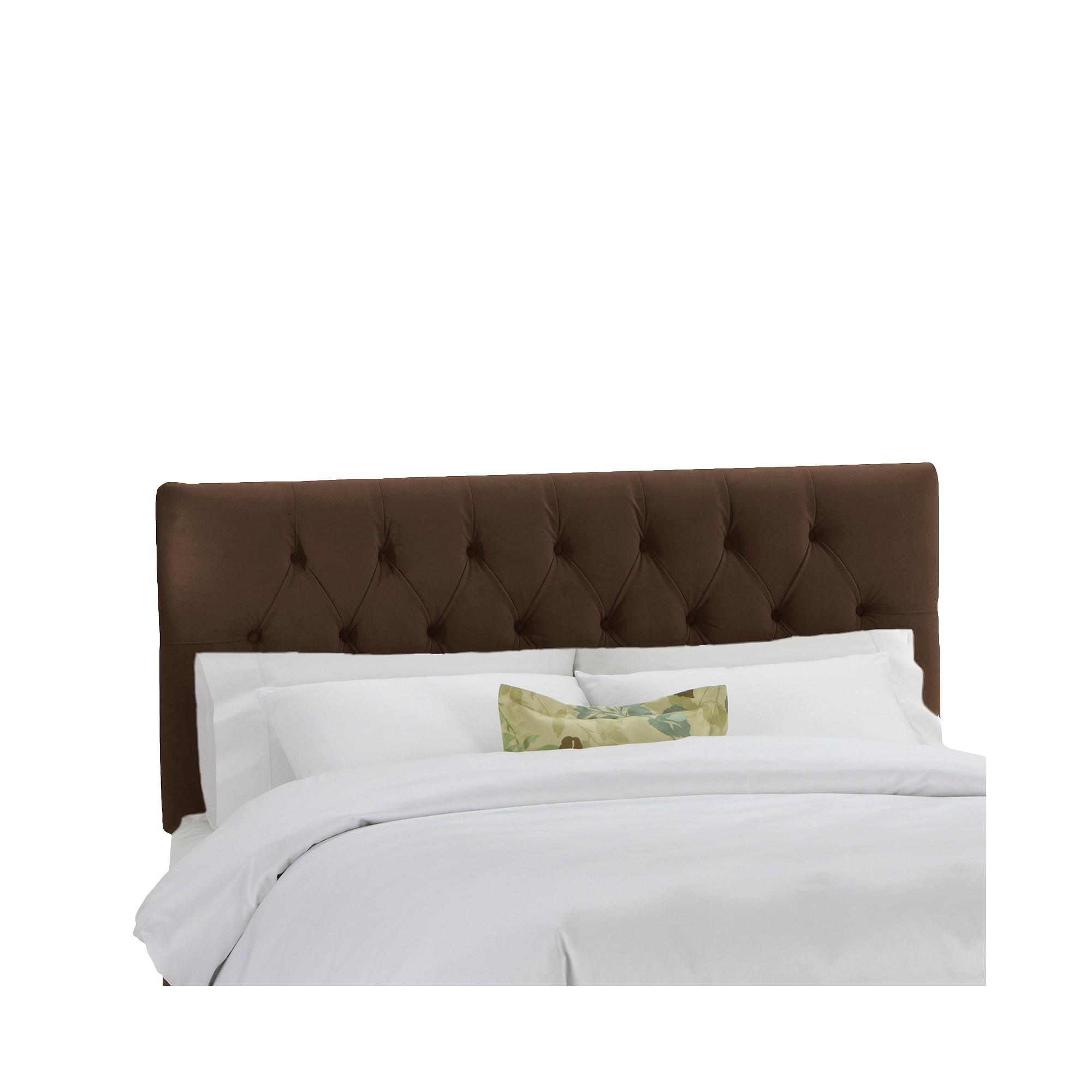 skyline edwardian upholstered velvet headboard chocolate brown