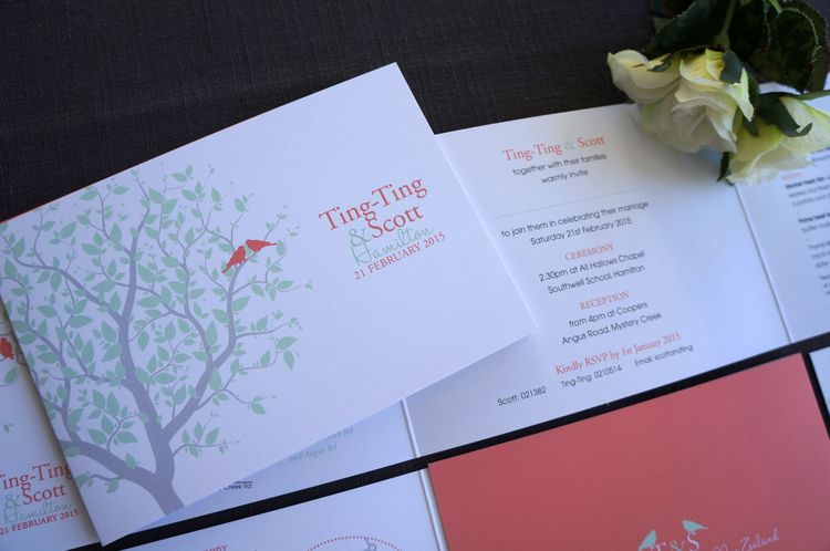 Love Birds Wedding Invitations bi fold landscape design Garden