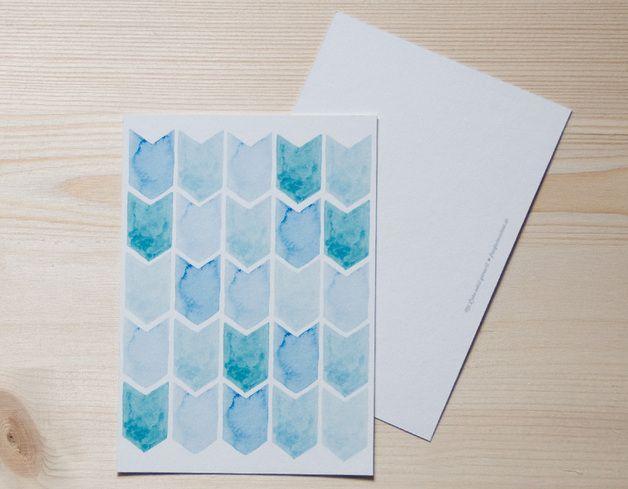 Glückwünsche - Karte Aquarell Pfeile aqua - ein Designerstück von frau_fadenschein bei DaWanda