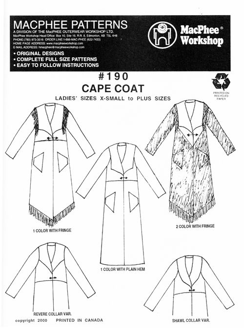 Patterns - MacPhee #190 - Cape Coat. All sizes included. Vogue Fabrics