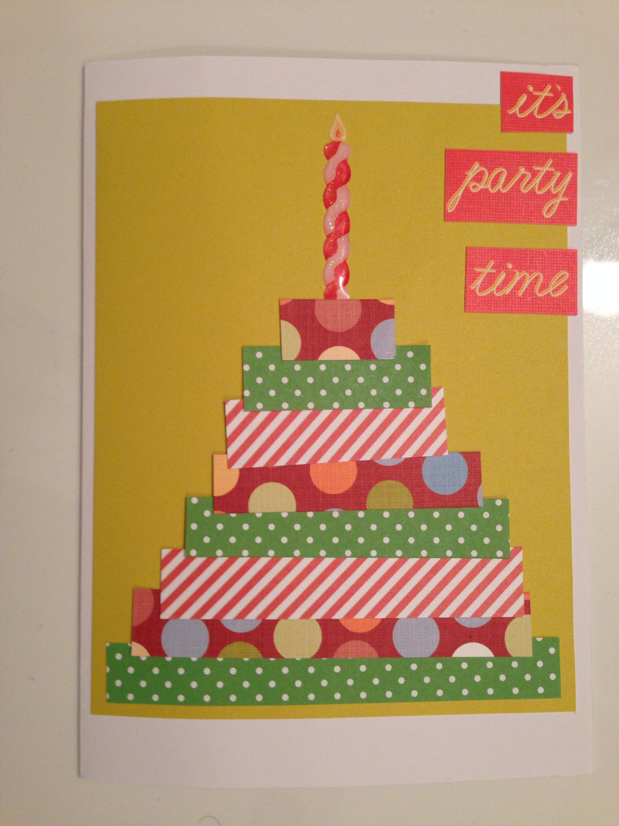 Handmade Birthday Cake Card It S Party Time Can Be Customized To